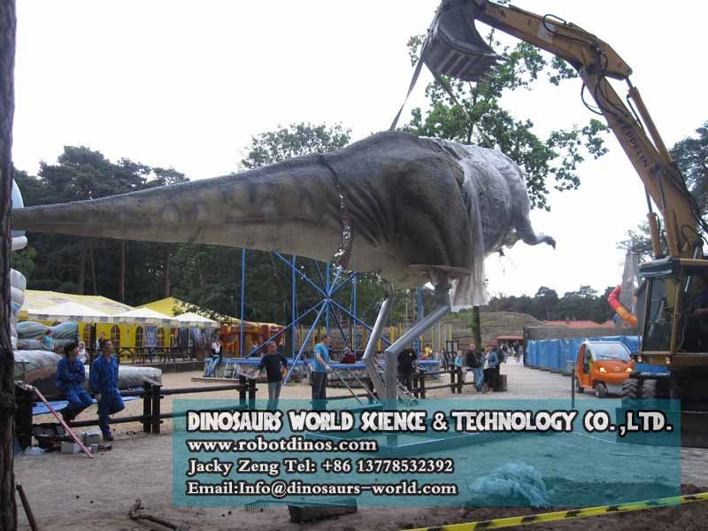 Install metal legs of huge T-rex